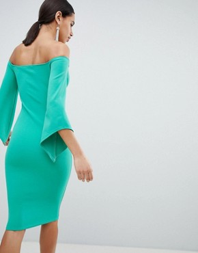 photo Bardot Pencil Dress with 3/4 Sleeve by Club L, color Green - Image 2