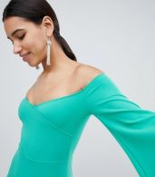photo Bardot Pencil Dress with 3/4 Sleeve by Club L, color Green - Image 3