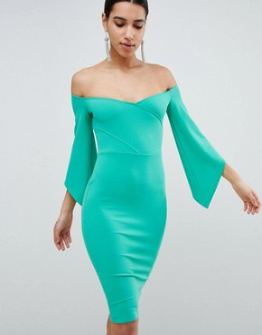 photo Bardot Pencil Dress with 3/4 Sleeve by Club L, color Green - Image 1
