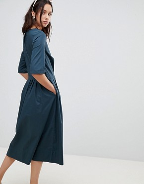 photo Chorus Organic Cotton Midaxi Dress by Kowtow, color Dark Teal - Image 2