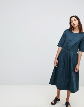 photo Chorus Organic Cotton Midaxi Dress by Kowtow, color Dark Teal - Image 1