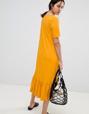 photo Building Block Midaxi Dress in Organic Cotton by Kowtow, color Marigold - Image 2