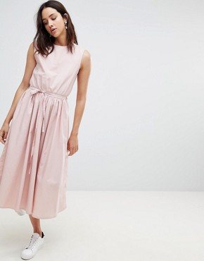 photo Dance with Me Organic Cotton Pinafore Dress by Kowtow, color Rose - Image 1