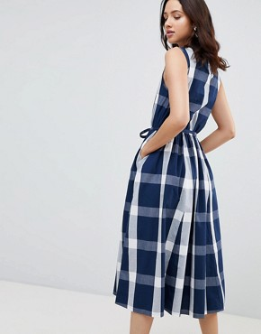 photo Dance with Me Organic Cotton Pinafore Dress by Kowtow, color Navy Check - Image 2