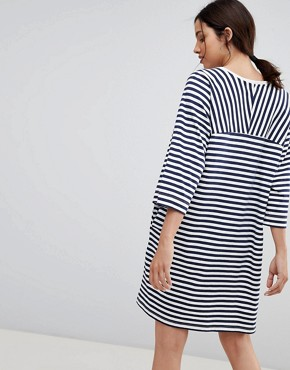photo Oversized Striped T-Shirt Dress in Organic Cotton by Kowtow, color Navy White - Image 2