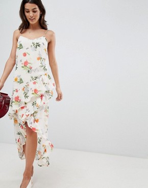 photo Floral Printed Wrap Midi Dress by Vila, color Multi - Image 1