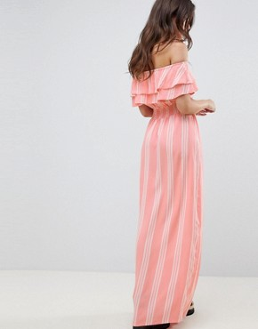 photo Striped Bardot Maxi Dress by PrettyLittleThing, color Pink - Image 2