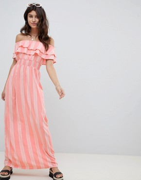 photo Striped Bardot Maxi Dress by PrettyLittleThing, color Pink - Image 1