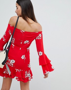 photo Floral Bardot Ruffle Hem Dress by PrettyLittleThing, color Red - Image 2