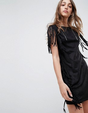 photo Fringe Detail Festival Shift Dress by QED London, color Black - Image 1