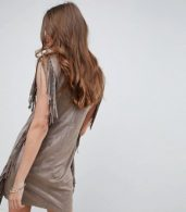 photo Fringe Detail Festival Shift Dress by QED London, color Taupe - Image 2