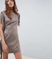 photo Fringe Detail Festival Shift Dress by QED London, color Taupe - Image 1