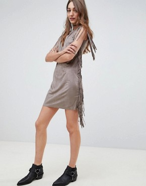 photo Fringe Detail Festival Shift Dress by QED London, color Taupe - Image 4