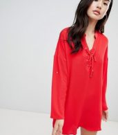 photo Shift Dress by QED London, color Red - Image 1