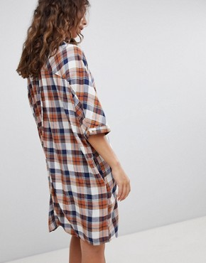 photo Check Shirt Dress by QED London, color Navy/Amber - Image 2