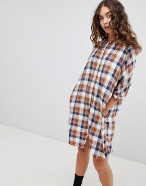 photo Check Shirt Dress by QED London, color Navy/Amber - Image 1