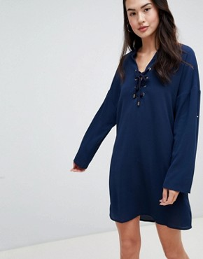 photo Shift Dress by QED London, color Navy - Image 1