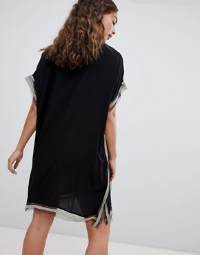photo Shift Dress with Trim Detail by QED London, color Black - Image 2