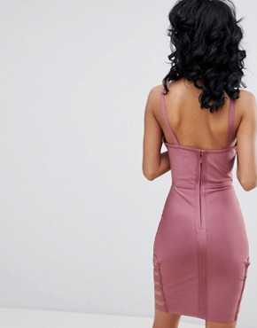 photo Cross Back Bodycon Dress with Cut Out Detail by Love & Other Things, color Plum - Image 2