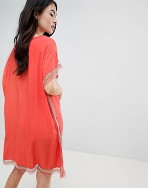 photo Shift Dress with Trim Detail by QED London, color Watermelon - Image 2