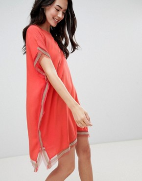 photo Shift Dress with Trim Detail by QED London, color Watermelon - Image 1