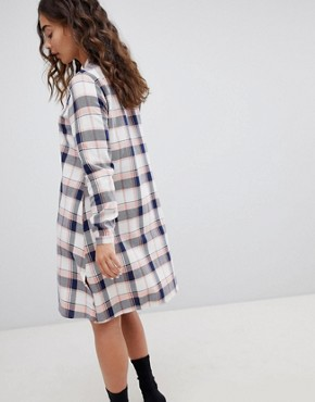 photo Check Shirt Dress by QED London, color Navy Eclipse - Image 2