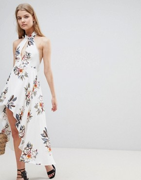 photo Hi Lo Floral Halterneck Dress by Love & Other Things, color White - Image 1