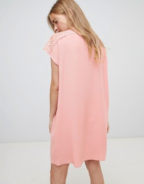 photo Shift Dress with Lace Insert by QED London, color Pink - Image 2