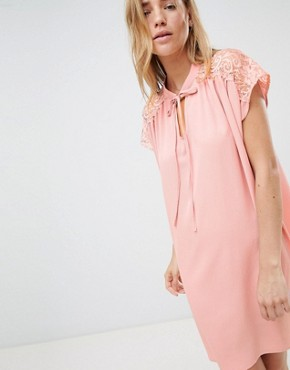 photo Shift Dress with Lace Insert by QED London, color Pink - Image 1
