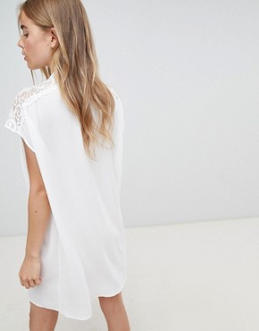 photo Shift Dress with Lace Insert by QED London, color White - Image 2