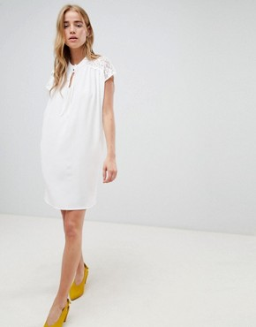 photo Shift Dress with Lace Insert by QED London, color White - Image 4