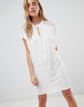 photo Shift Dress with Lace Insert by QED London, color White - Image 1