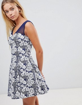 photo Floral Skater Dress with Mesh Insert by QED London, color Navy Eclipse - Image 1
