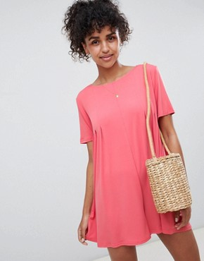 photo Shift T-Shirt Dress by QED London, color Coral - Image 1