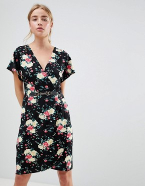 photo Floral Print Kimono Sleeve Dress with Wrap Front by QED London, color Black - Image 1