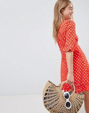 photo Polka Dot Tea Dress with Frill Details by QED London, color Red - Image 2