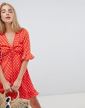 photo Polka Dot Tea Dress with Frill Details by QED London, color Red - Image 1