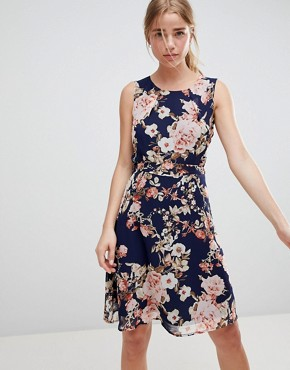 photo Floral Print Skater Dress by QED London, color Navy - Image 1