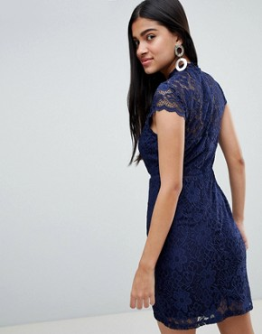 photo Cap Sleeve Lace Dress by QED London, color Navy - Image 2