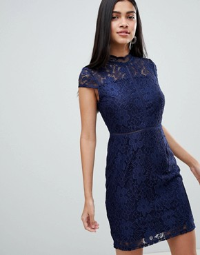 photo Cap Sleeve Lace Dress by QED London, color Navy - Image 1