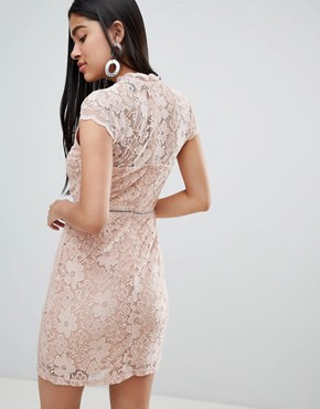 photo Cap Sleeve Lace Dress by QED London, color Beige - Image 2
