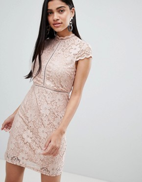 photo Cap Sleeve Lace Dress by QED London, color Beige - Image 1