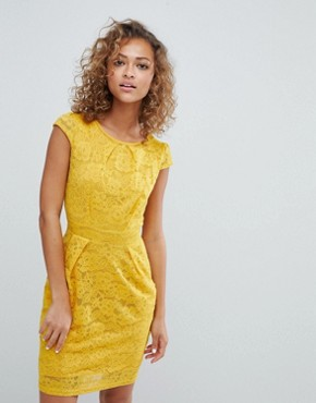 photo Lace Tulip Dress by QED London, color Sunflower - Image 1