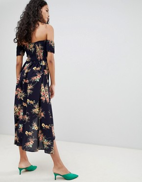 photo Off Shoulder Floral Midi Dress by QED London, color Navy - Image 2