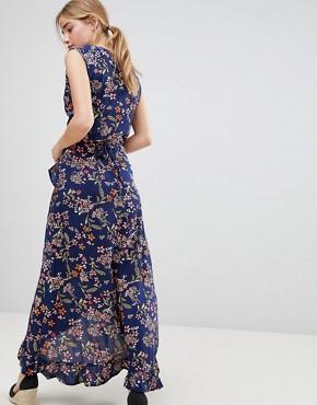 photo Floral Print Wrap Maxi Dress with Frill by QED London, color Navy - Image 2
