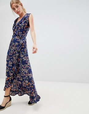 photo Floral Print Wrap Maxi Dress with Frill by QED London, color Navy - Image 1