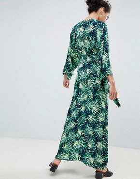 photo Printed Maxi Dress with Kimono Sleeves by QED London, color Navy Green - Image 2