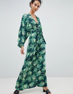 photo Printed Maxi Dress with Kimono Sleeves by QED London, color Navy Green - Image 1