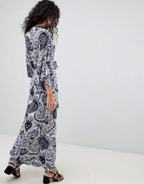 photo Printed Maxi Dress with Kimono Sleeves by QED London, color White Blue - Image 2