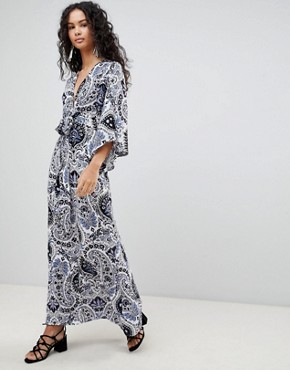 photo Printed Maxi Dress with Kimono Sleeves by QED London, color White Blue - Image 1